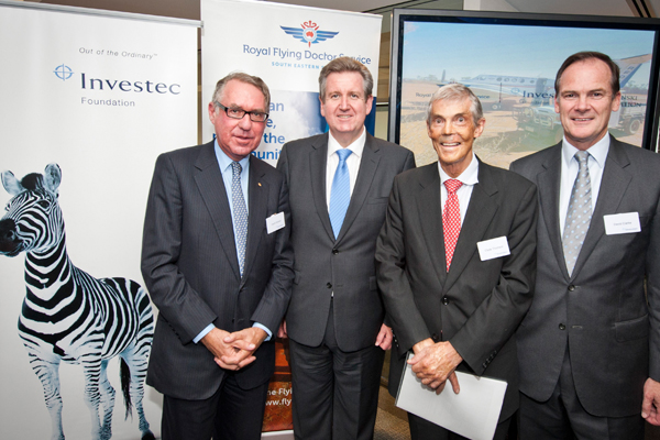 At the launch (left to right), Investec Bank Australia Chairman, David Gonski; with NSW Premier, the Hon. Barry O'Farrell; RFDS Executive Director Clyde Thomson and Investec Chief Executive, David Clarke.